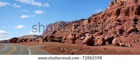 The Vermilion Cliffs Of Northern Arizona, Taken From Highway 89 Between Marble Canyon And Jacob Lake - stock photo