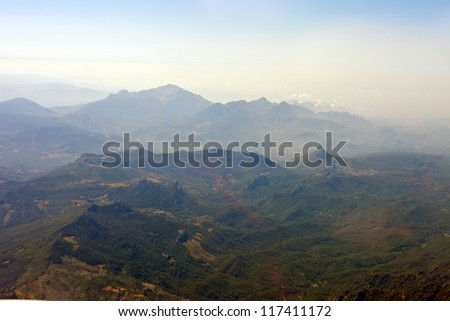 the very nice view from airplane window - stock photo