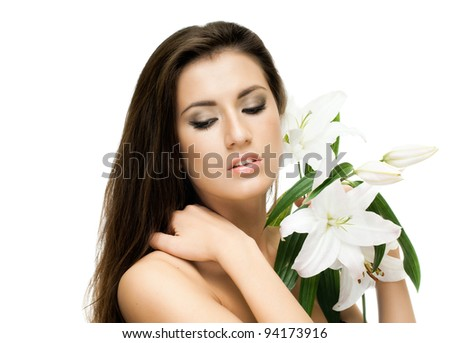 the very  pretty woman on white background, with lily, sensual sexuality gaze