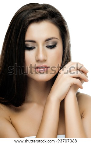 the very  pretty young woman portrait on white background;  isolated