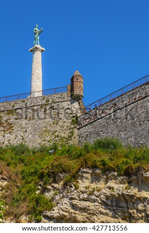 The Victor Monument viewed from the lower city. - stock photo