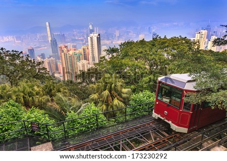 The Victoria Peak Tram and Hong Kong city skyline - stock photo