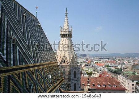 The Vienna Skyline and St Stephens DOM Tower - stock photo