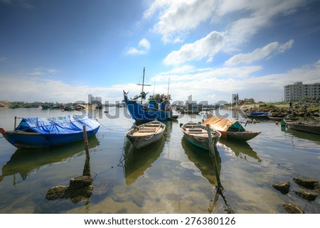 The Vietnam boat in dawn - stock photo