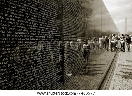 The Vietnam War Memorial in Washington DC - stock photo