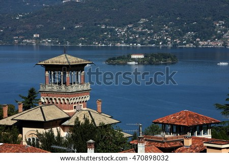 the view at the town of stresa on the Lago Maggiore in Piemont in north italy in europe
