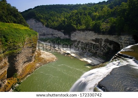 The view down the gorge at Letchworth State Park, NY - stock photo