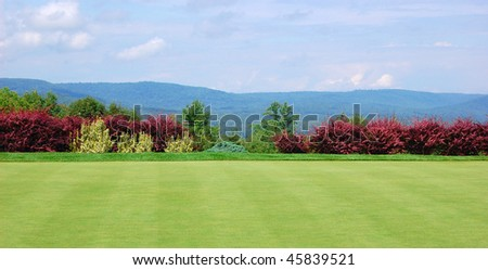 The view from a mountain-top golf course in Maine - stock photo