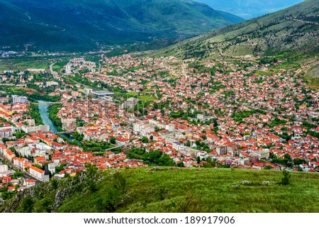 The view from high on the city of Mostar in Bosnia and Herzegovina. - stock photo