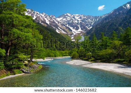 The View from Kappabashi Bridge. This image was taken in Kamikochi, Nagano Prefecture, Japan  - stock photo