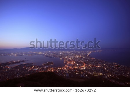 The view from Mt. Hakodate - stock photo