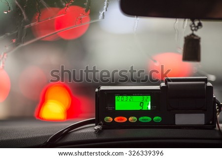 The view from the cab to the display meter in Thailand. - stock photo