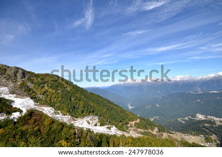 The view from the cabin cableway Rose Farm, Krasnaya Polyana, Sochi, Russia. - stock photo
