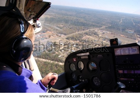 The view from the copilot seat of a small airplane - stock photo