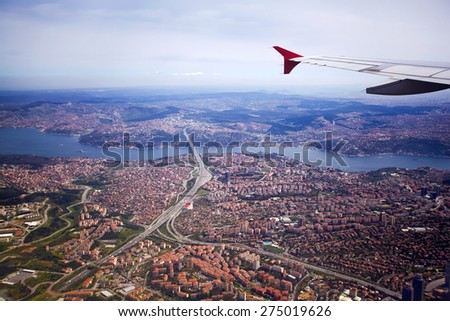 The view from the flight to Istanbul. Turkey - stock photo