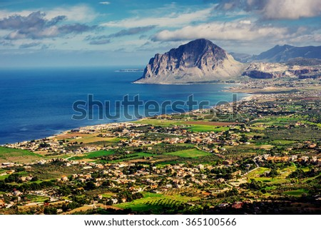 The view from the heights of the city. The dramatic and picturesque scene. Location Trapani, Erice, Sicily, Italy, Europe. Mediterranean and Tyrrhenian Sea. - stock photo