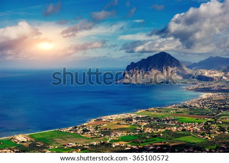 The view from the heights of the city. The dramatic and picturesque scene. Location Trapani, Erice, Sicily, Italy, Europe. Mediterranean and Tyrrhenian Sea.