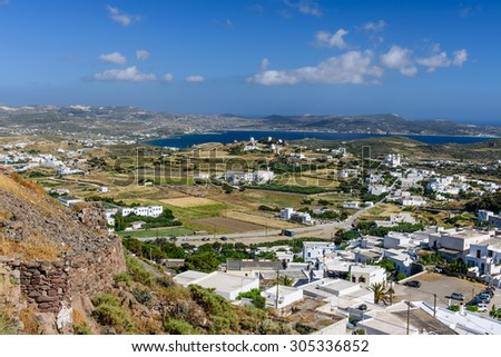 The view from the high hill, Plaka village, Milos island, Cyclades, Greece.