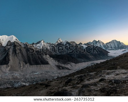 The view from the Kala Patthar to the south in the late evening - Everest region, Nepal, Himalayas - stock photo