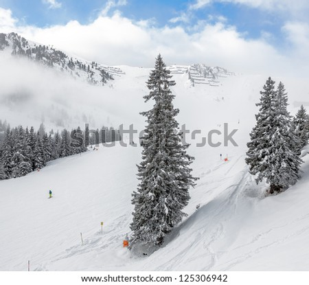 The view from the Penken on the ski route slope - Mayrhofen, Austria
