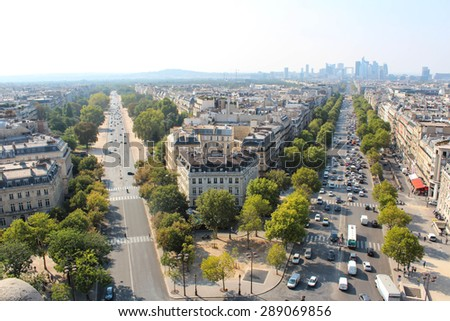 The view from the roof of the diverse architecture of Paris. - stock photo