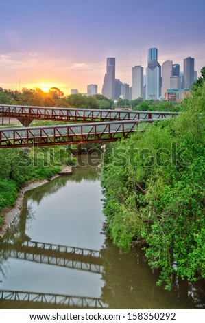 The view from the Studemont Bridge over Buffalo Bayou - stock photo