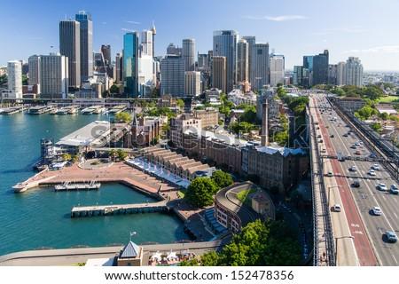 The view from the Sydney Harbour Bridge Pylon tower in Sydney, Australia - stock photo