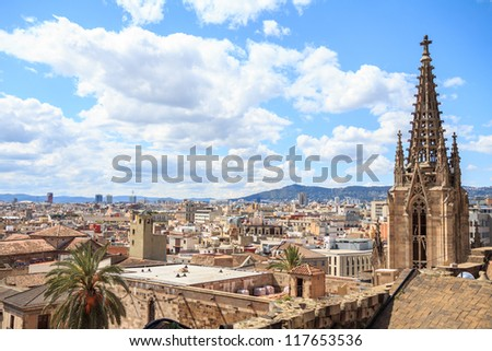 The view from the top of Barcelona Cathedral - stock photo