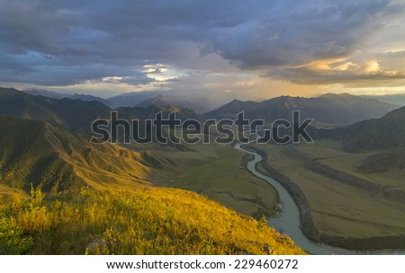 The view from the top of the mountain in the valley of the river Katun, Altai, Russia.  - stock photo