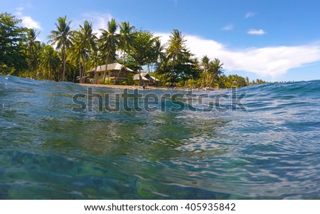 The view from the water on tropical island, clean blue sea water look through, snorkel sight to the green beach, summer vacation on the beach, seaside view to tropical island, turquoise sea shore life