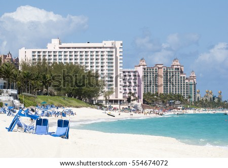The view of a beach coastline on Paradise Island, popular vacation destination in The Bahamas.