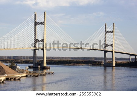 The view of a bridge over St. Johns River in the city of Jacksonville (Florida). - stock photo