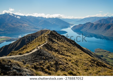 The view of beautiful Wanaka hiking up Roy's Peak  - stock photo