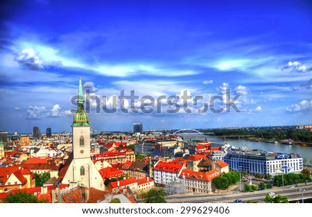 The view of Bratislava, Slovakia on the Danube from the fortress - stock photo