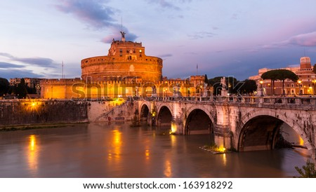 The view of Castel Sant'Angelo at dusk - stock photo