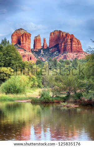 The view of Cathedral Rock in Sedona, Arizona. - stock photo
