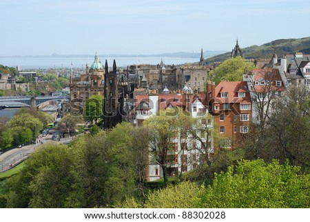 The view of Edinburgh from the Edinburgh castle, Scotland - stock photo