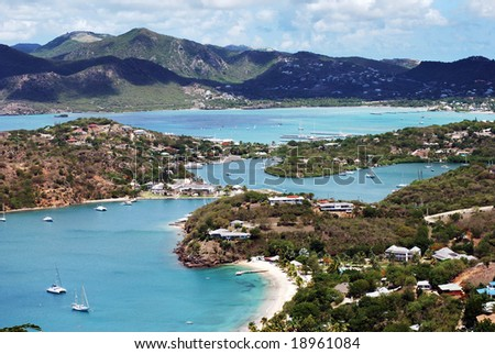 The view of famous Nelson's Bay on Antigua island where is XIX century Georgian harbor, the only one in the world that still in operation. - stock photo