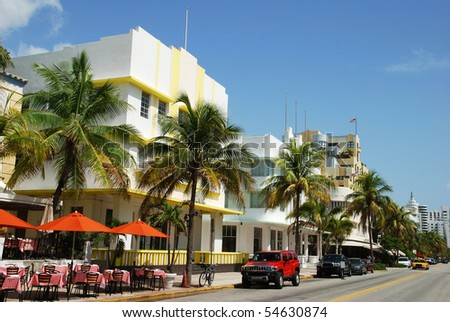 The view of famous Ocean Drive street in Miami South Beach (Florida). - stock photo