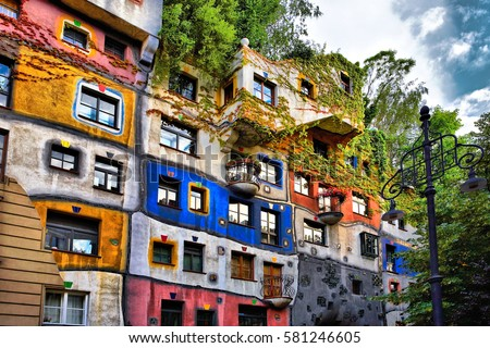 view hundertwasser house vienna austria stock foto 581246605 shutterstock. Black Bedroom Furniture Sets. Home Design Ideas