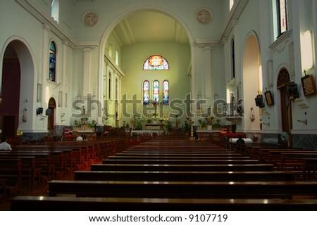 The view of interior of catholic church - stock photo