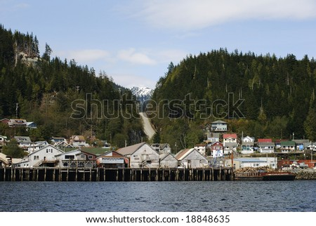 The view of Ketchikan houses with the road leading out of town (Alaska).