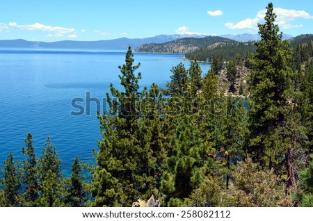 The view of Lake Tahoe - stock photo