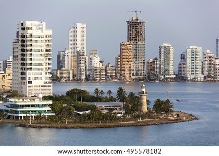 The view of modern building district in Cartagena city (Colombia).