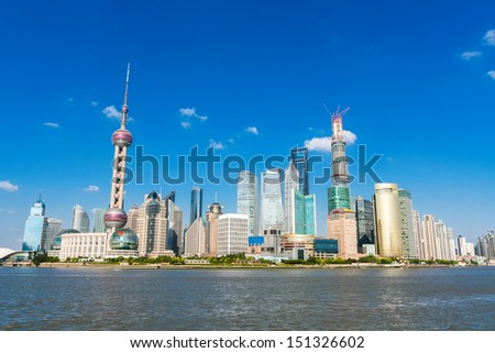 The view of modern city,shanghai - stock photo