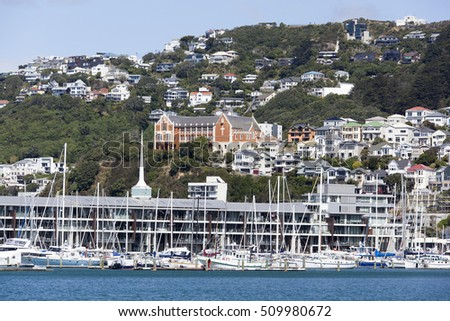 The view of Mount Victoria residential district in Wellington (New Zealand).