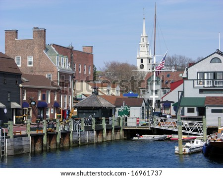 The view of Newport city and the old harbour (Rhode Island). - stock photo