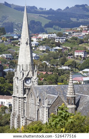 The view of Presbyterian Church in Port Chalmers, the suburb of Dunedin city (New Zealand).