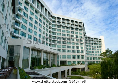 The view of resort and hotel buildings - stock photo