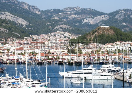 The view of resort town Marmaris surrounded by mountains (Turkey). - stock photo